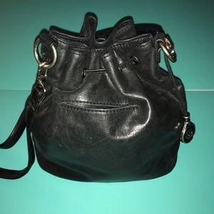 The Sak Bag Black Leather Bucket Beaded Accents